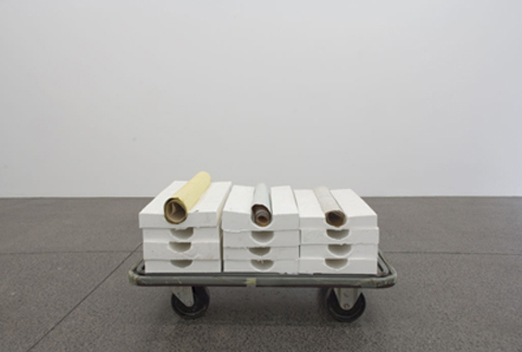 L. Budd, Untitled (1992), hand-poured silicon, plaster, wallpaper, 13 x 56 x 30cm; courtesy of the artists