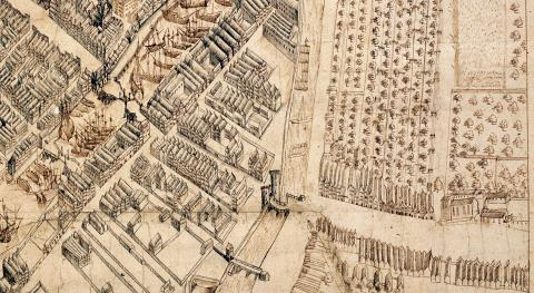 1599 Map of Gdansk (detail), Stockholm view; original in Royal War Archive in Stockholm