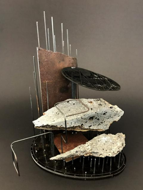 Aaron Paterson & Sarosh Mulla, Penumbral (2017); model (rock, steel and Perspex); photo courtesy of the artists