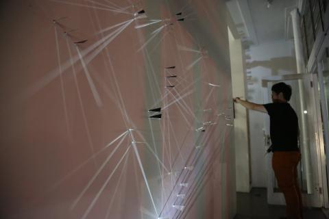 Alvin Xiong installing at Corner, photo by Phillip Tse