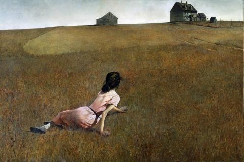 Andrew Wyeth, Christina's World, 1948, 81.9 cm × 121.3 cm; collection of Museum of Modern Art, NYC