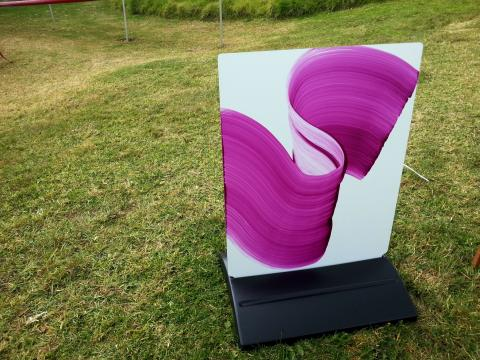 Ann Quickenden, Purple Brushstroke Signboard 2012, NZ Sculpture OnShore 2012; photo by Rob Garrett