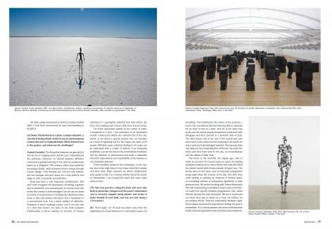 Antony Gormley interview, ArtNewsNZ Winter 2015, pp76-7