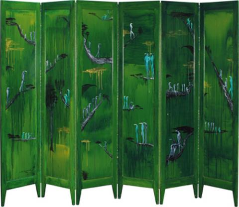 Bill Hammond, Primeval Screen 1996-1997, acrylic on folding screen, six panels, 1715 x 2250mm
