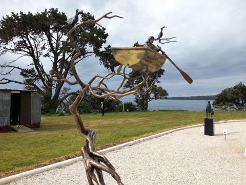 Campbell Maud, The Rower 2012, NZ Sculpture OnShore 2012; photo by Rob Garrett