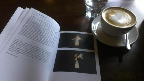 "Checking the printer's proof of ""Lost in a dream"" catalogue over Sunday morning coffee... Beautiful design by Ophelia King; photo by Rob Garrett"
