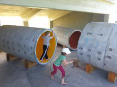 Children at play in Miriam van Wezel's project at Sculpture OnShore.