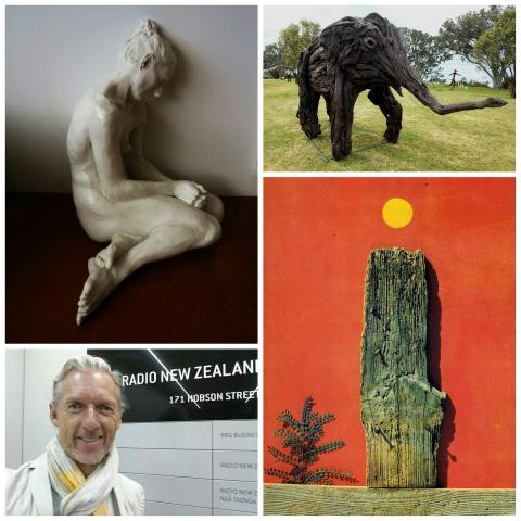 Collage of works by Sam Harrison, Jack Marsden-Mayer and Max Ernst, with Rob Garrett at RadioNZ
