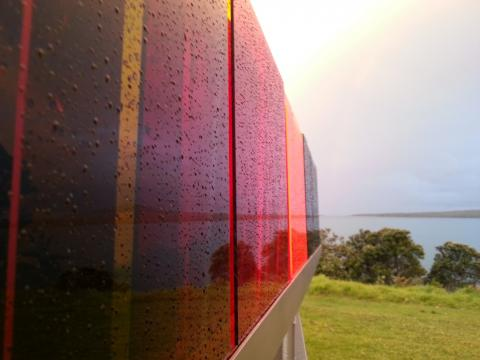 Colleen Ryan-Priest, Red Sky at night... Red Sky in the morning 2012, NZ Sculpture OnShore 2012; photo by Rob Garrett