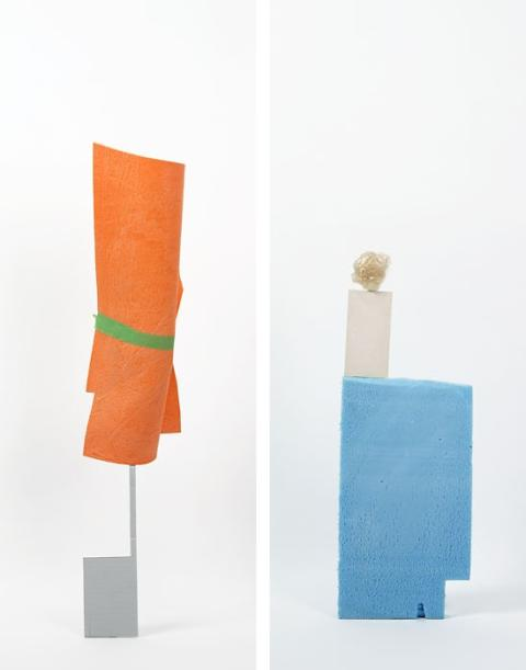 Daniel von Sturmer, Production Still, Improbable Stack (cardboard, wettex with tape) & (foam, cardboard, ball of tape), 2013; courtesy of the artist and Anna Schwartz Gallery