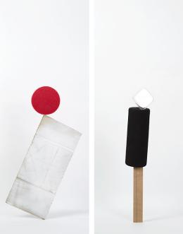 Daniel von Sturmer, Production Still, Improbable Stack (found cardboard, sponge) and (plywood, foam tube, plastic case), 2013; courtesy of the artist and Anna Schwartz Gallery