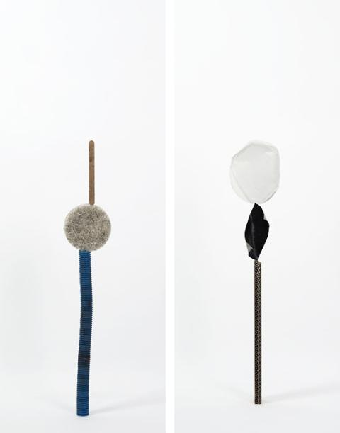 Daniel von Sturmer, Production Still, Improbable Stack (found hose, sponge and ice cream stick) & (cardboard, gaffer tape, paper), 2013; courtesy of the artist and Anna Schwartz Gallery