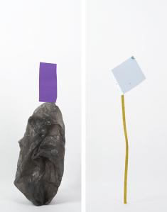 Daniel von Sturmer, Production Still, Improbable Stack (plastic bag, paper) & (found packaging tie, plastic), 2013; courtesy of the artist and Anna Schwartz Gallery