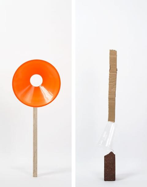 Daniel von Sturmer, Production Still, Improbable Stack (plywood, safety cone) & (brick, plastic cup, cardboard), 2013; courtesy of the artist and Anna Schwartz Gallery