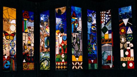 Dugald Page, stained glass windows at Westlake Boys High School