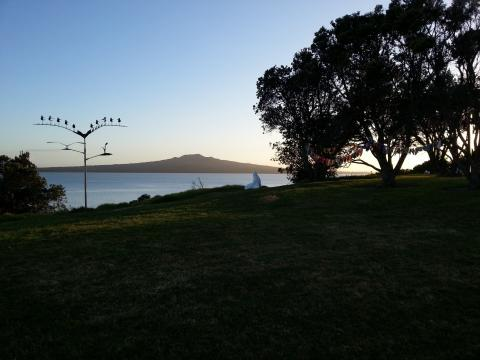 Early morning on NZ Sculpture OnShore site with works by Doug Kennedy, Ben Foster and Madpanic Collective