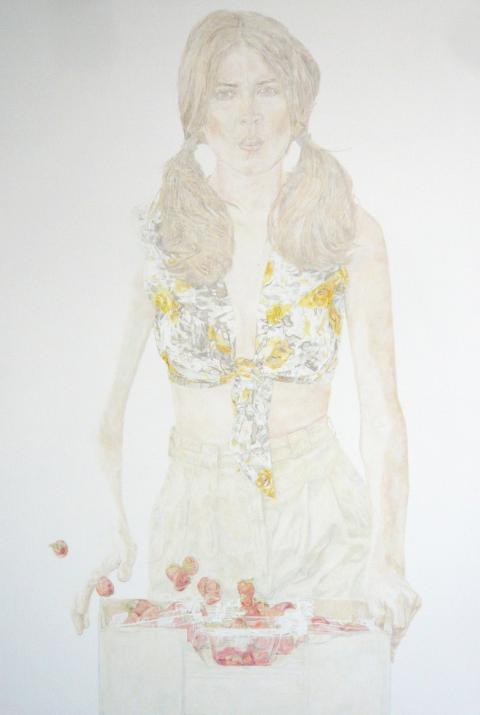 Estella Castle, Mariette Larkin with Strawberries (Derya Parlak), 2010, oil & gesso on linen, photo by Rob Garrett