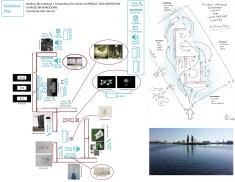 Exhibition plan with conceptual link to Grodzka Island in the Odra River, Szczecin; designs by Rob Garrett