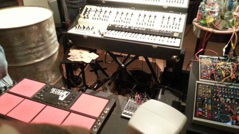 Gael Navard's performance set up at Le Salon; photo by Rob Garrett