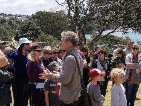 Guided tour by Curator Rob Garrett at NZ Sculpture OnShore 2012; photo by Jan McEwan