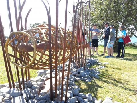 Guy Bowden's carved wood eels and eel trap Sculpture OnShore.