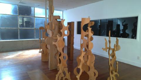 Installation week: Grant Gallagher's forest of never-before-seen wooden sculptures from 1999-2001