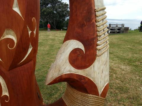 Joe Kemp, Matau A Maui (detail) 2012, NZ Sculpture OnShore 2012; photo by Rob Garrett