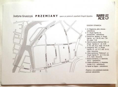 Justyna Gruszczyk, Transformations 2013 (scent trail map), Narracje 2013
