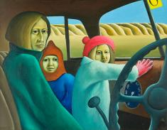 "Michael Smither, ""Family in the Van"" 1971, oil on canvas, 487 x 632mm"