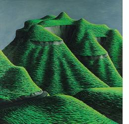 Michael Smither, Hills of Tongaporutu, 1972, oil on board, 1210 x 1210