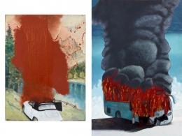 Mimmo Catania, Idyllic Landscape (2014) and The Rim (2014) from the Burning Cars series; images courtesy of the artist