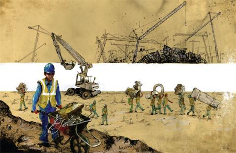Molly Crabapple, Construction Crew on Happiness Island, Abu Dhabi 2014