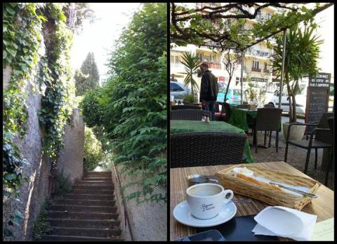 Morning walk and reading artists' portfolios with breakfast near Rue Jean Canavese; photos by Rob Garrett