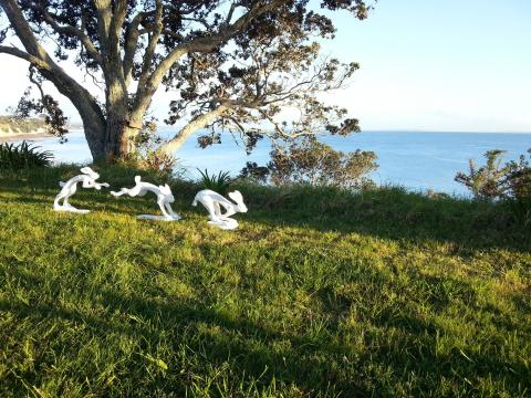 Nick Dryden's Running Hares on the clifftop at NZ Sculpture OnShore