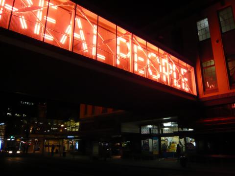 Carmela Gross, Real People / Are Dangerous (2008), Colombo Street overbridge, commissioned for SCAPE 2008, photo by Rob Garrett
