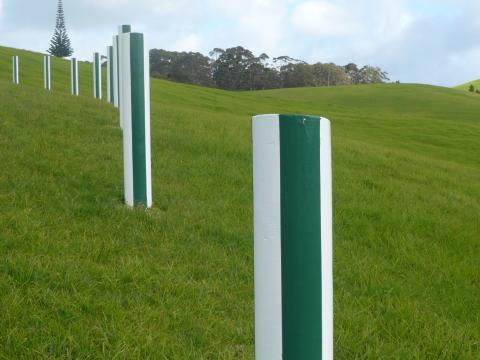 Daniel Buren, Green and White Fence 1999-2001, Gibbs Farm, photo by Rob Garrett