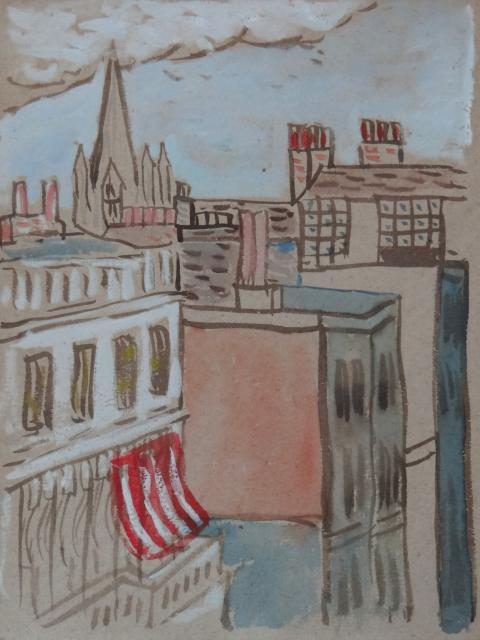 Raymond McIntyre, Cityscape with Red Awning, n.d.