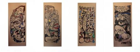 Reweti Arapere, Mareikura; Whatukura; Tane Tokorangi; and Tangaroa Ararau; (all 2013); paper, permanent marker, paint marker; 650 x 1600mm; images courtesy of the artist
