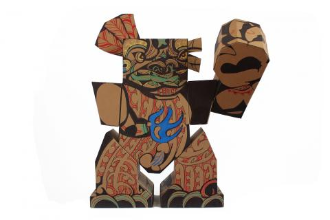 Reweti Arapere, Te Aitanga-a-tiki, 2013, cardboard, permanent marker, paint marker 1000 x 1000 x 500mm; image courtesy of the artist