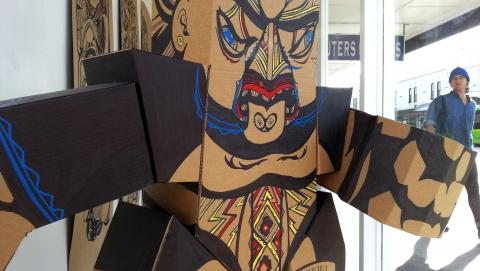 Reweti Arapere, Uenuku (detail), 2013, cardboard, permanent marker, paint marker 1000 x 1000 x 500mm; photo by Rob Garrett