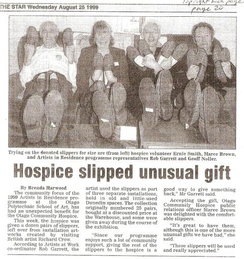Richard Crow's slippers to charity, Dunedin Hospice, 1999