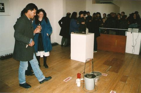 Richard Crow, The Living Archive, closing event, Blue Oyster Gallery, August 1999, photo by Rob Garrett, 4