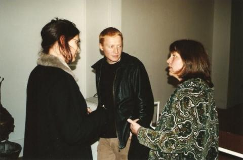 Richard Crow, The Living Archive, closing event, Blue Oyster Gallery, August 1999, photo by Rob Garrett. With Susan Ballard, Nathan Thompson, Kim Pieters