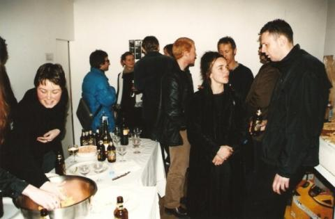 Richard Crow, The Living Archive, closing event, Blue Oyster Gallery, August 1999, photo by Rob Garrett. With Warren Olds, Nathan Thompson, Teresa Andrews, Geoff Noller, Richard Crow