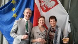 Rob Garrett, Juliette Laird & Marysia Jaskiewicz at reception for new Polish Honorary Consul in Auckland, Boguslaw Nowak (Auckland, 11-12-13); photo courtesy of Rob Garrett