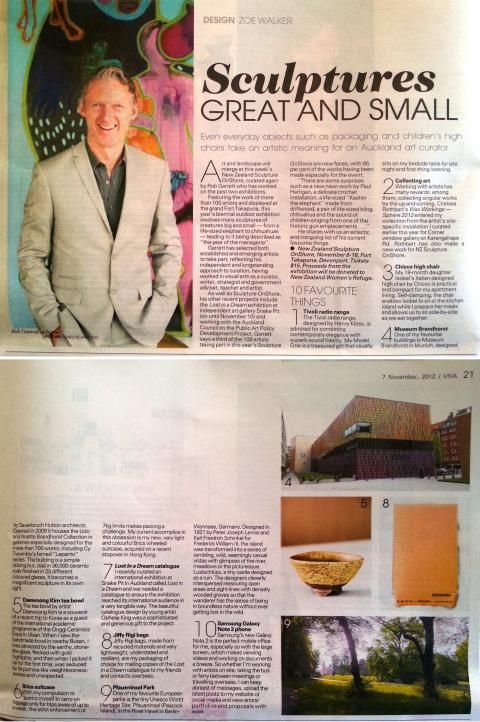 Rob Garrett profile in NZ Herald Viva Magazine 07 November 2012, pp20-21