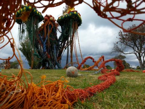 Sacha David Nunn, Ghost Nets Fukushima: In an Ocean of Complacency 2012, NZ Sculpture OnShore 2012; photo by Rob Garrett