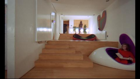 Stanley Kubrick, A Clockwork Orange, 1971; Bullmore's work right background in Mr Alexander set