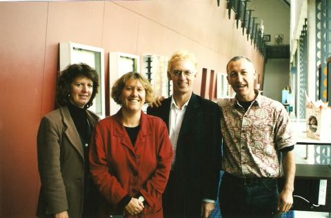 The Artists at Work team in 1999, Janeice Young, Anna Brookes, Rob Garrett, Geoff Noller