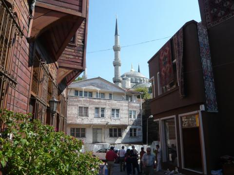 Blue Mosque from Sultanahmet back streets, Istanbul, photo by Rob Garrett